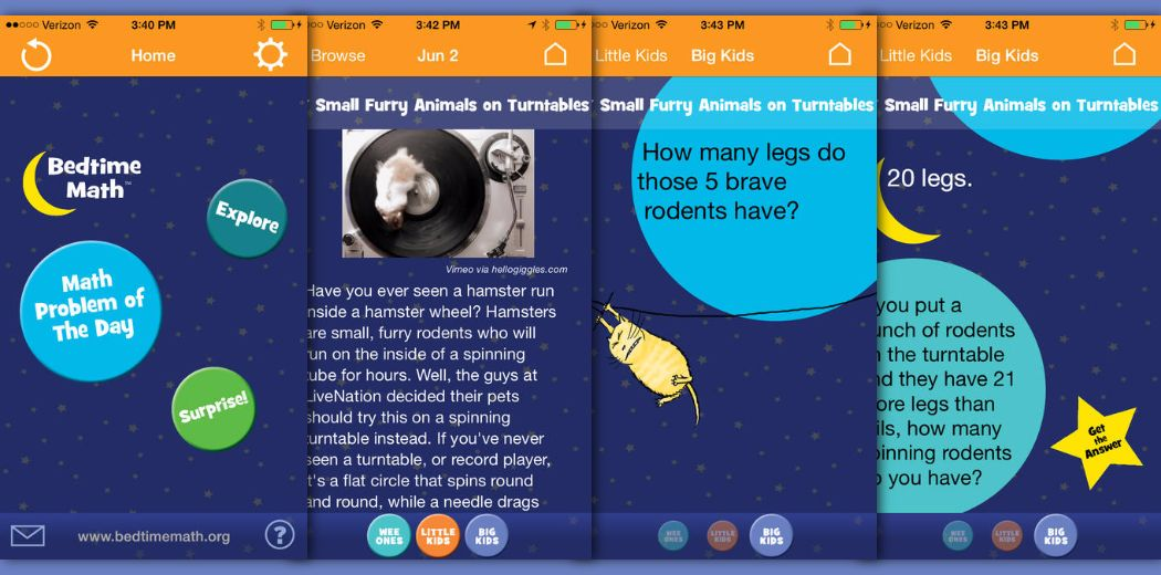 Parents know 2 read 2 their kids at night, but what about math?  Bedtime Math 4 iOS (Free)